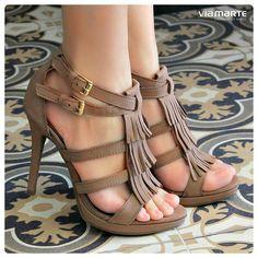 nude - sandália - franjas - heels - party shoes - Ref. 14-15909 - verão 2015