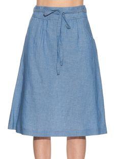 A.P.C. Bellona cotton and linen-blend skirt