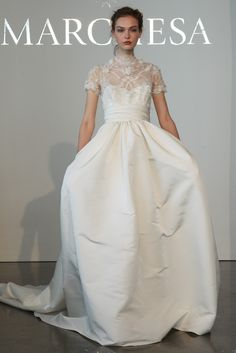 Marchesa Spring 2015 Chantilly lace thistle flower bridal ball gown with a silk faille skirt, embroidered high-neck bodice, and short sleeves with pockets and Marchesa Bridal, Marchesa Spring, Bridal Looks, Bridal Style, Bridal Dresses, Wedding Gowns, Lace Wedding, Bridal Fashion Week, Runway Fashion