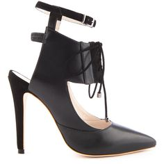 Alepel Chaine Black High Heel Pointed Toe With Buckle Strap And... (1,330 ILS) ❤ liked on Polyvore featuring shoes, pumps, pointy-toe pumps, pointed toe high heel pumps, leather pumps, black lace up shoes and black shoes