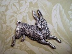 Large Oxidized Silver Plated Brass Running Rabbit Stamping (1) - SOFFA14065
