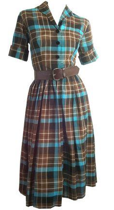 Bright Aqua Blue and Cocoa Plaid Dressy Shirtwaist Dress circa 1960s - Dorothea's Closet Vintage