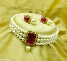 Jewellery Set CHOKER NECKLACES SET  Base Metal: Brass Plating: Brass Plated Stone Type: Crystals Sizing: Adjustable Type: As Per Image Multipack: 1 Country of Origin: India Sizes Available: Free Size   Catalog Rating: ★4 (496)  Catalog Name: Allure Beautiful Jewellery Sets CatalogID_1323218 C77-SC1093 Code: 881-8016532-183