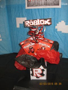 Roblox Birthday Party Table Centerpiece Decoration (Front View)...I created this for my son's upcoming party since there aren't any Roblox game themed party decorations in stores to buy.