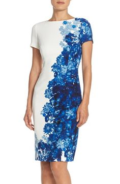 Adrianna Papell Floral Print Waffle Piqué Sheath Dress (Regualr & Petite) available at #Nordstrom