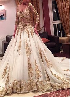 dc0f90f096d Cinderella Two Pieces Wedding Dress Arabic Ball Gown Gold Lace Beads Luxury  V Neck Long Sleeves Chapel Train Vintage Bridal Dresses 2015