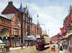 Peter Lapish - New Briggate - Leeds - West Yorkshire - England - The Grand Arcade and the Grand Theatre is on the left - 1900 Yorkshire England, West Yorkshire, Bus Art, Leeds City, Victorian Architecture, Arched Windows, Glass Roof, Public Transport, Arcade