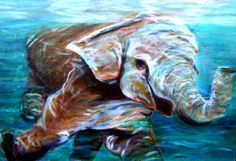 Happy little elephant loves swimming in the ocean, I know how she feels. So I painted her.