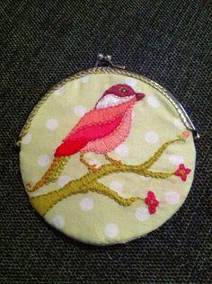 Embroidered bird coin purse Embroidered Bird, Coins, Coin Purse, Wallet, Purses, Handbags, Coining, Coin Purses, Handmade Purses