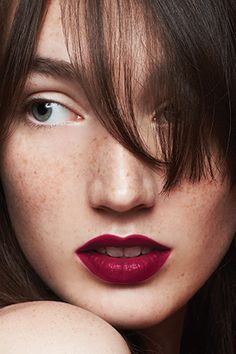 The matte crimson lip is a beauty must-try.