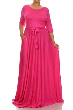 Gabby Pink Belted Maxi Dress Vestidos De Gran Tamaño fdc1a2b674ab