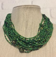 """EsMor Green Seed Beads Multi Strand Necklace 18"""" with Extender Vintage 