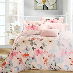 cover sheet bed on sale at reasonable prices, buy Luxury butterfly queen king size bedding sets pink quilt duvet cover designer sheets bed in a bag bedsheets linen silk from mobile site on Aliexpress Now! Bed Sheets Sale, Pink Bed Sheets, Queen Bed Sheets, Luxury Bed Sheets, Bed Sheet Sets, Queen Beds, 3d Bedding Sets, King Size Bedding Sets, Pink Bedding
