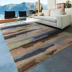 Carolina Weavers Grand Comfort Collection Cracked Sky Multi Shag Area Rug (5'3 x 7'6)