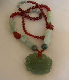 Beaded jewelry w carved jade pendant necklace by TheJadeMerchant, $400.00
