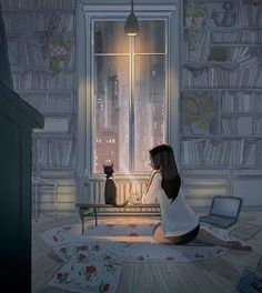 Pascal Campion is a French-American artist based in Burbank, California who creates heartwarming and soulful illustrations about every day life. Art And Illustration, Pascal Campion, Fantasy Kunst, Fantasy Art, Anime Kunst, Anime Art, Art Mignon, Anime Scenery, Aesthetic Art