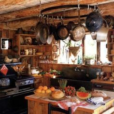 Keeping your hearth and home safe ~ Kitchen witch--Fab country kitchen for the kitchen witch. Rustic Kitchen, Kitchen Decor, Cozy Kitchen, Kitchen Ideas, Rustic Cabin Kitchens, Log House Kitchen, Earthy Kitchen, Herbal Kitchen, Kitchen Magic