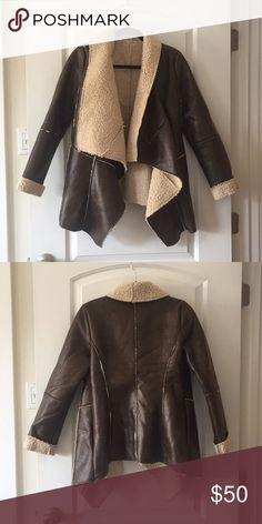 Brown Sherpa jacket Never worn brown Sherpa jacket size small. Very cozy perfect for a cold evening! Jackets & Coats