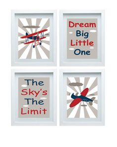 Airplane Art Nursery Decor - Wall Art Aviation Print Red Navy Blue Art Home Decor Kids room Set of 3 - 11x14 Prints - Boy's Room Baby's roo on Etsy, $47.00