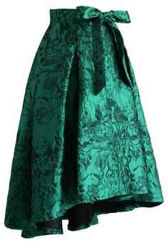 Glam Floral Embossed Waterfall Skirt in Emerald - CHICWISH SKIRT COLLECTION - Skirt - Bottoms - Retro, Indie and Unique Fashion