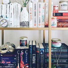 "herbookishthings: ""Here's another shelfie before I redo my bookshelves - again! Lots of new books thanks to so many lovely people. How often do you guys rearrange your selves? """