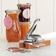 Personal Embosser with Stand on Williams-Sonoma.com.....would be cool to label my spiced apple jelly Christmas gifts.