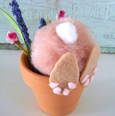 Curious Little Bunny Pots /  Whimsical Easter by DoesMeadow, $6.50