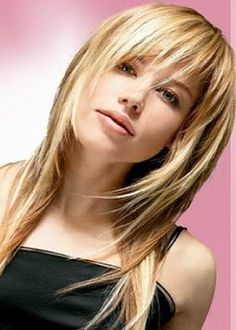 Layered straight hairstyles for medium to long hair with bangs