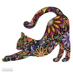 Stretching Cat Wall Sticker Repositionable di MyWallStickers in bedroom wall Stretching Cat Wall Sticker - Repositionable Floral Cat Wall Decal Zentangle, Face Stickers, Cat Quilt, Wall Decals, Vinyl Decals, Wall Vinyl, Cricut Vinyl, Wall Art, Cute Cats