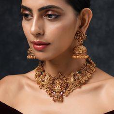 Jhumki Earrings, Gold Choker Necklace, Pearl Choker, Necklace Set, Jewelry Necklaces, Silver Choker, Jewellery Earrings, Indian Jewelry Sets, Victorian Jewelry