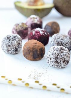 Fudgy Avocado Chocolate truffles, an easy 4 ingredient truffle recipe with an incredibly smooth and creamy texture but without dairy. Vegan.