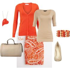 A fashion look from February 2012 featuring orange button shirt, beige t shirt and long stretchy skirts. Browse and shop related looks.