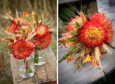 Farm inspired Wedding Flowers; Red/Yellow Dahlias, Golden Wheat, Orange Mokara Orchids