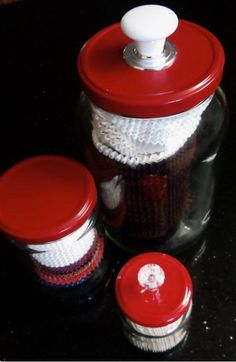 MORE RED LIDS! Have a bit of fun. I store cup cake liners in these and a tooth pick jar with a bit of bling! Cupcake Liners, French Press, Glass Jars, Coffee Maker, Make It Yourself, Canning, Store, Simple, Pantry