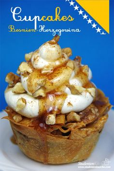 Baklava Cupcakes with rosewatter Frosting topped with honey and nuts