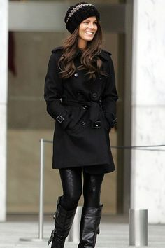 Kate Beckinsale in a trench coat in New York - Sleek black coat, leggings, boots and cute woolly beanie.