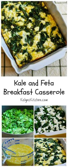This low-carb Kale and Feta Breakfast casserole is delicious and easy to make! [from Kalynskitchen.com]