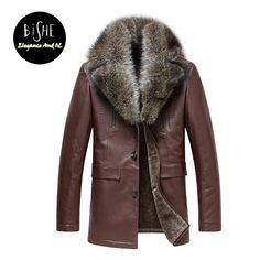 NEW Fashion Fur Jacket Split Sheepskin Leather Coat With Fleece Lining Winter Warm Outwear Raccoon Fur Collar Leather Jacket Men