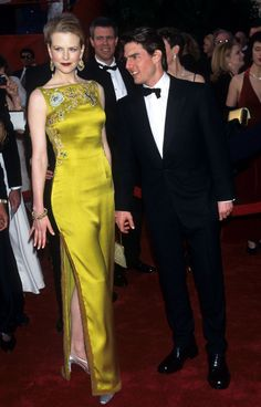 Vintage Nicole Kidman in Dior with a fresh faced Tom Cruise. My first couture carpet memory.