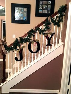 DIY Christmas decorations are fun projects to do with your family and friends. At the same time, DIY Christmas decorations … Christmas Staircase Decor, Indoor Christmas Decorations, Christmas Mantels, Rustic Christmas, Christmas Home, Christmas Holidays, Decorating Banisters For Christmas, Christmas Ideas, Christmas Vacation