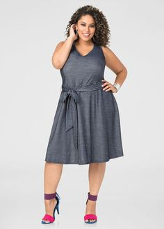 a7710b4e45c Belted Skater Dress-Plus Size Dresses-Ashley Stewart-010-1753X