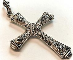 #Vintage #sterling silver and #marcasite #religious #cross #necklace #pendant by Emmalishop on Etsy