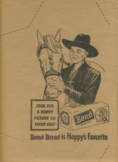 1950s Bond Bread Hopalong Cassidy Paper Book Cover