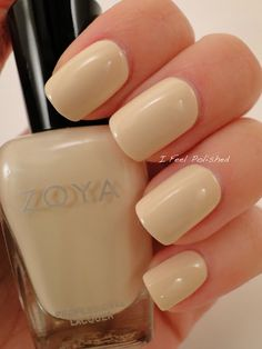 Zoya nail polish, color: Jacqueline (neutral beige creme, Spring Collection Custom color designed by Peter Som for Fashion week 2013 Nail Polish Designs, Cool Nail Designs, Pretty Nail Colors, Pretty Nails, Fabulous Nails, Gorgeous Nails, Hair And Nails, My Nails, Bella Nails