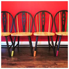 Trendy, retro-style hand painted chairs by The Old Barnyard at Amorini