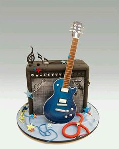 Brilliant Guitar and amp cake - For all your Music cake decorating supplies…