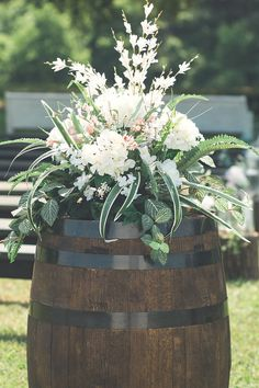 Rustic Wedding Ceremony Decor with Barrel & Hydrangeas | photo by Memories by Renee Hardin | The Pink Bride® www.thepinkbride.com