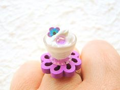 Kawaii Miniature Food Ring Ice Cream Flower by SouZouCreations