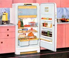 Oh how I want a fabulously cheerful pink vintage kitchen like the one in this Norge refrigerator ad from 1954. #vintage #ad #1950s #pink #kitchen #fridge #home #decor