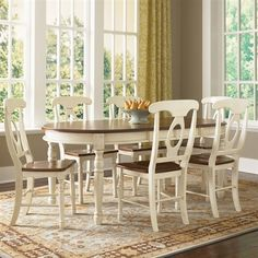 A-America BRI British Isles Oval Leg Table Dining Set - This is the table I want, my fav! Dining Table With Leaf, Dining Room Table Decor, Solid Wood Dining Set, Dining Table Legs, Dining Room Sets, Extendable Dining Table, Decoration Table, Dining Room Furniture, Dining Chairs